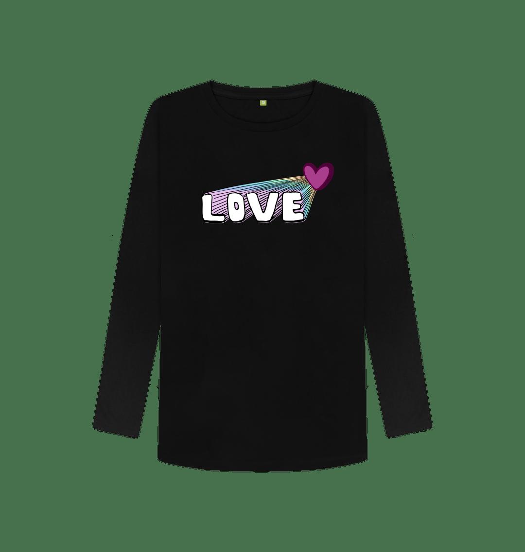 Organic Cotton Women's Let Your Love Shine Longsleeve Top in Black