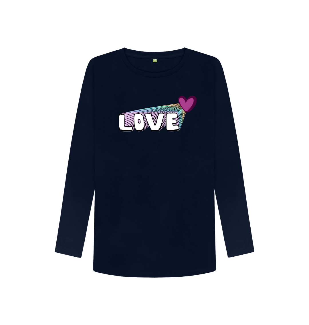 Organic Cotton Women's Let Your Love Shine Longsleeve Top in Navy