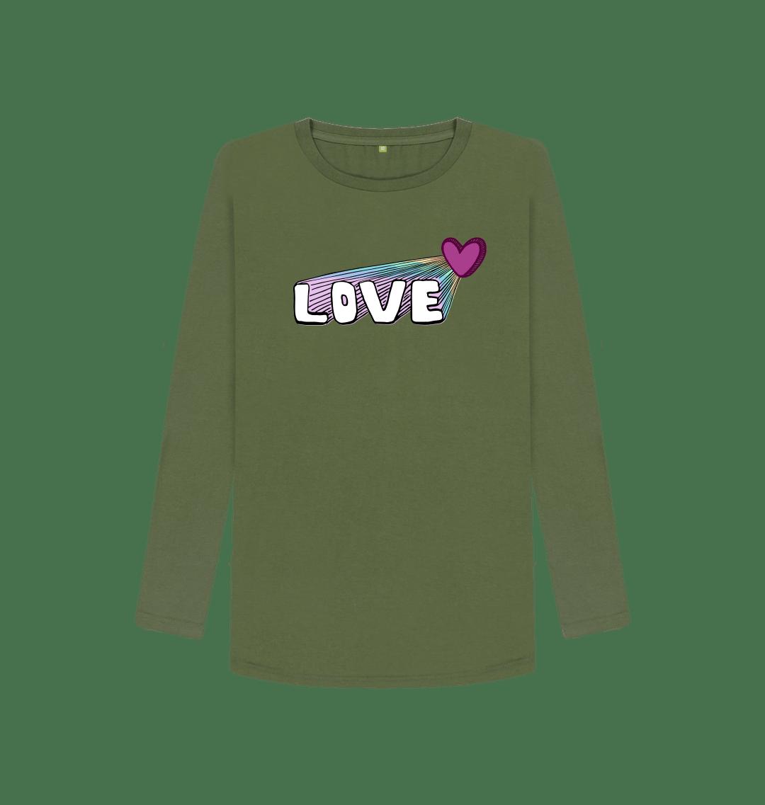 Organic Cotton Women's Let Your Love Shine Longsleeve Top in Khaki Green