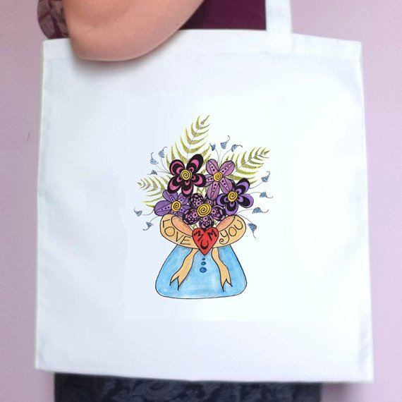 Love You Mum Flowers Eco Friendly Reusable Fold Flat Tote Bag Mothers Day Gift Mum Gift Kind Shop 2