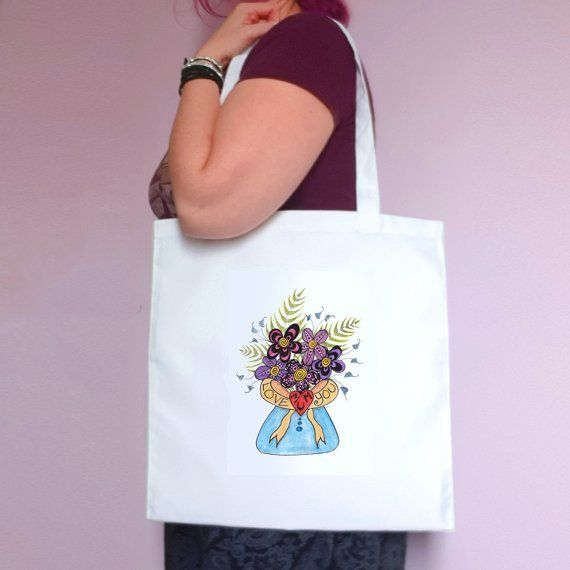 Love You Mum Flowers Eco Friendly Reusable Fold Flat Tote Bag Mothers Day Gift Mum Gift Kind Shop