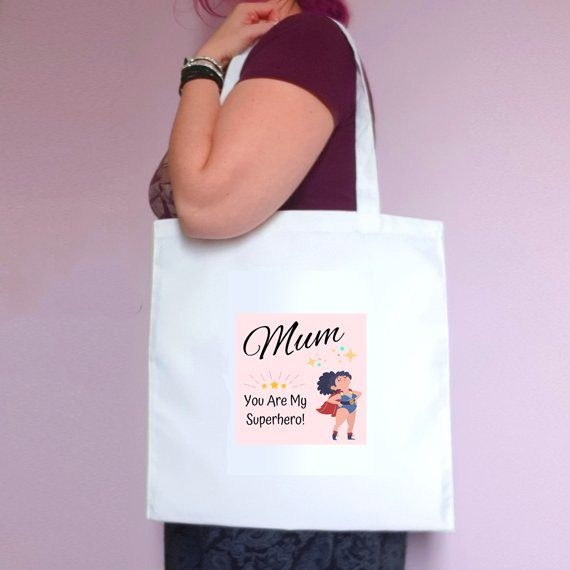 Mothers Day Eco Friendly Fold Flat Reusable Tote Bag – Mum You Are My Superhero – Mum Gift Kind Shop