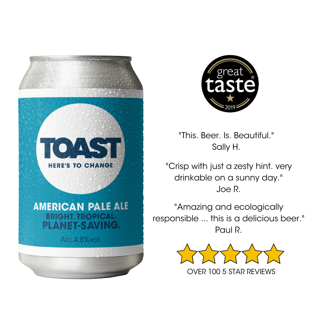Toast Ale Canned APA Bread Beer (American Pale Ale) vegan beer sustainable