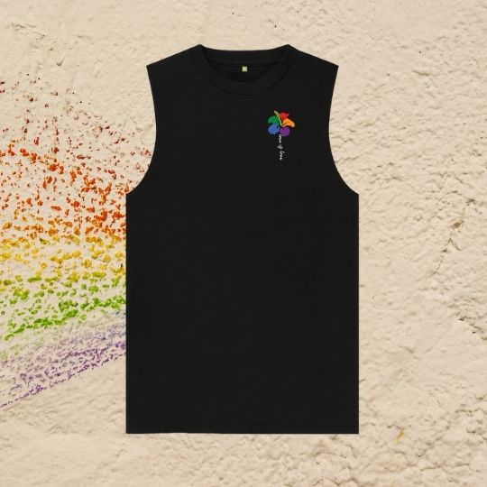 Men's Love is Love Rainbow Flower LGBT Organic cotton vest tee