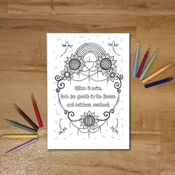 A4 Print At Home Positive Mindful Colouring Sheet With Inspirational Quote – When It Rains Kind Shop