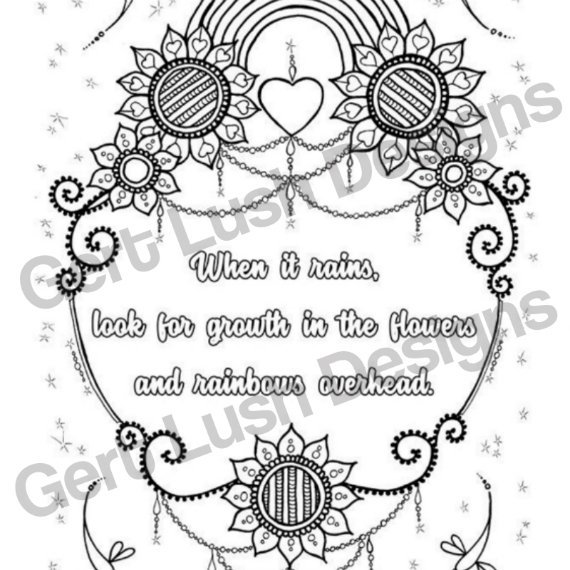 A4 Print At Home Positive Mindful Colouring Sheet With Inspirational Quote – When It Rains Kind Shop 2