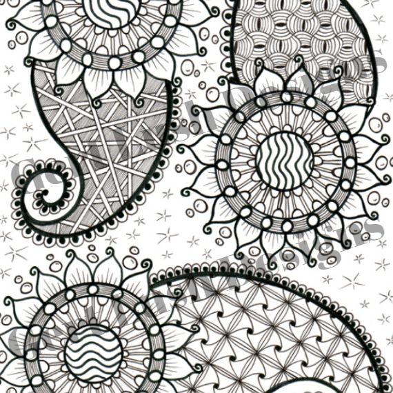 Positive Mindful Colouring Sheet Artwork Poster Print – Paisley Power Kind Shop 2