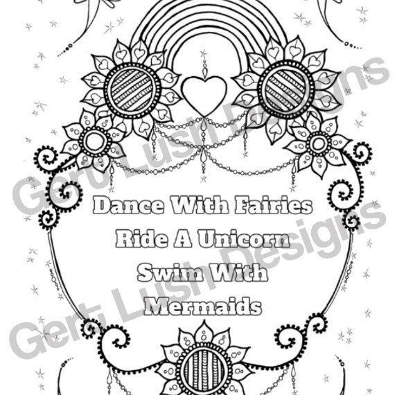 Positive Mindful Colouring Sheet Artwork Poster Print With Inspirational Quote – Dance With Fairies Kind Shop 2