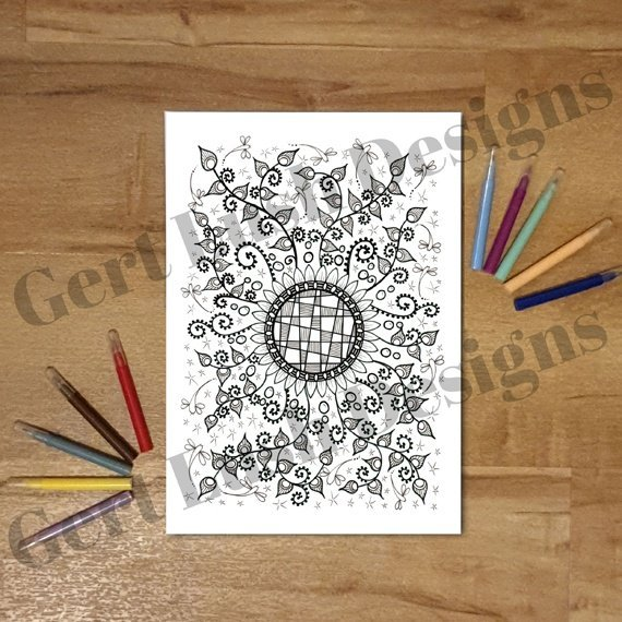 Nature Inspired A4 Print At Home Mindful Colouring Sheet – Flower Crazy Kind Shop