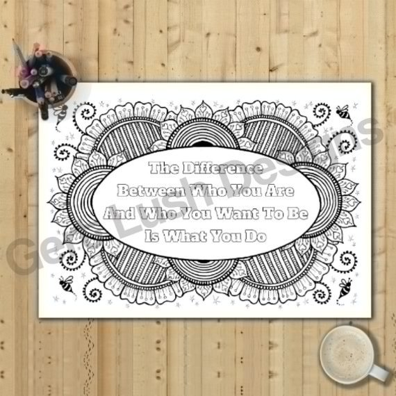 Positive Mindful Colouring Sheets With Motivational Quotes – Saver Set Of Four A4 Sized Kind Shop 6