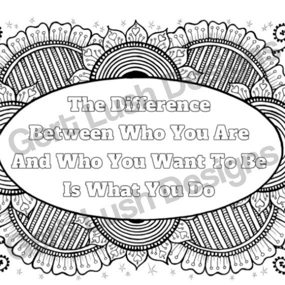 A4 Print At Home Positive Mindful Colouring Sheet With Motivational Quote – Who You Are Kind Shop 2