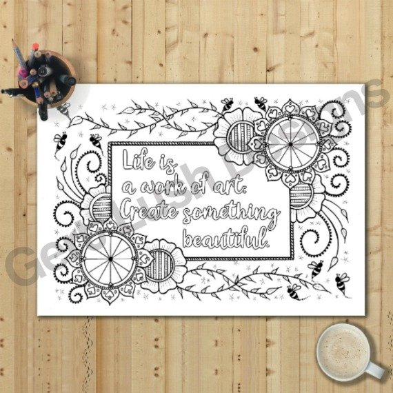 Positive Mindful Colouring Sheets With Inspirational Quotes – Saver Set Of Four A4 Sized Kind Shop 3