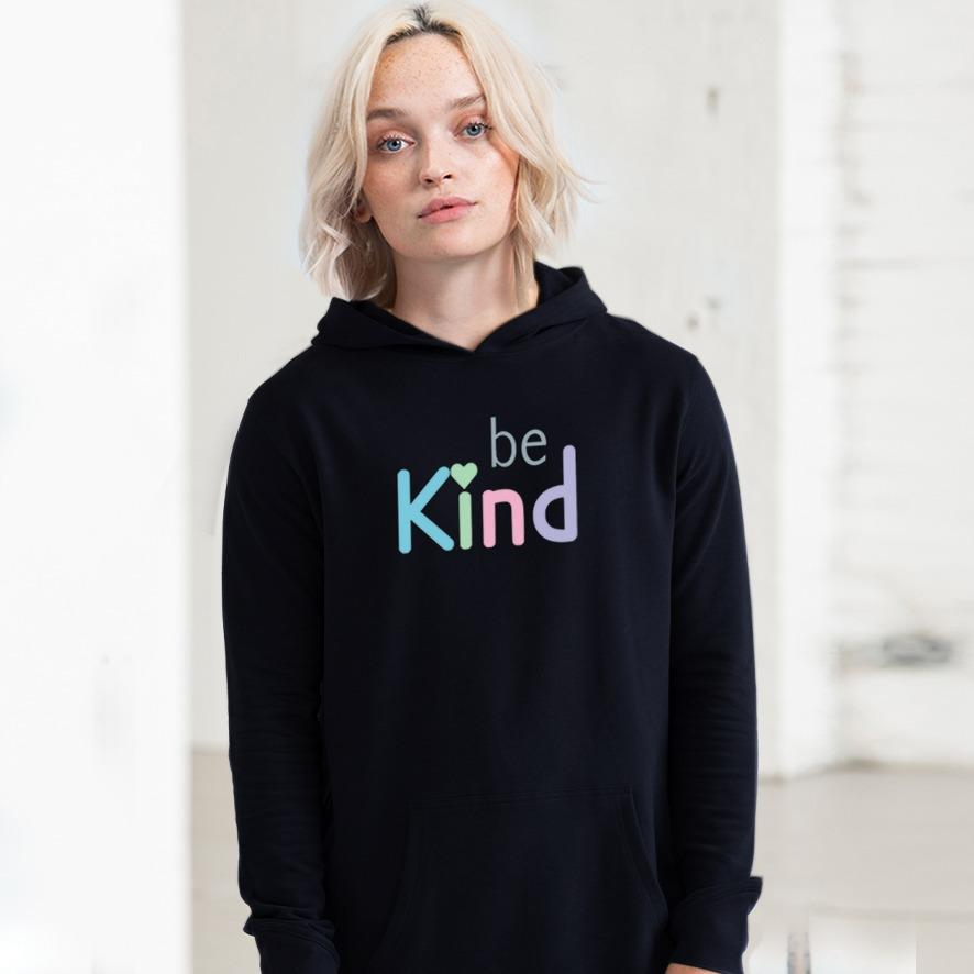 Be Kind Hoodie. Organic Cotton Clothing. Vegan - Black