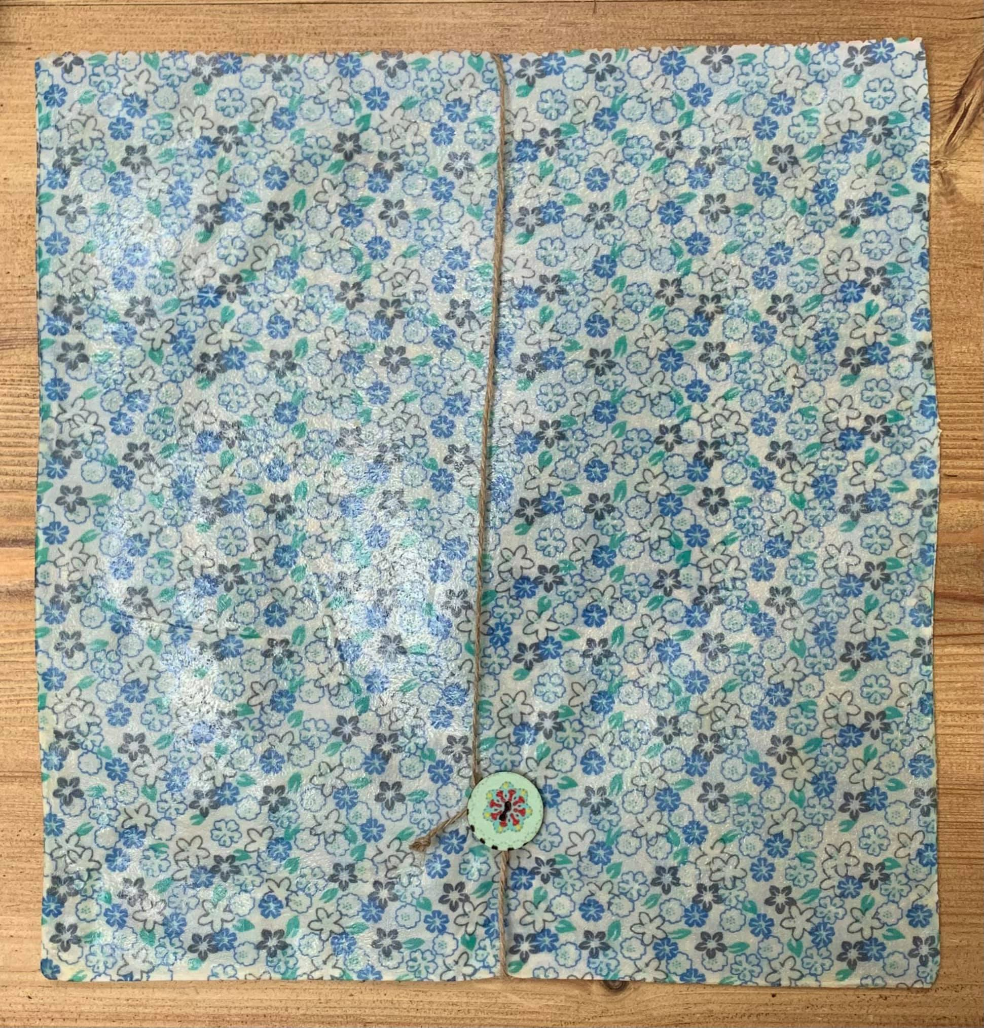 Beeswax Round Bread Bag (Blue Grey Floral) Kind Shop