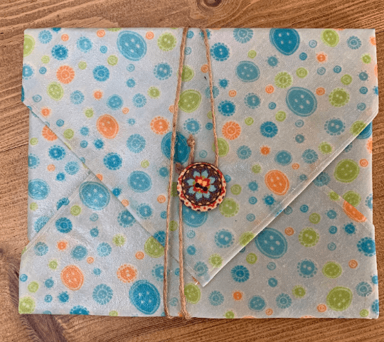 Beeswax Sandwich Wrap with Button & String Fastening (Blue Orange Buttons) Kind Shop