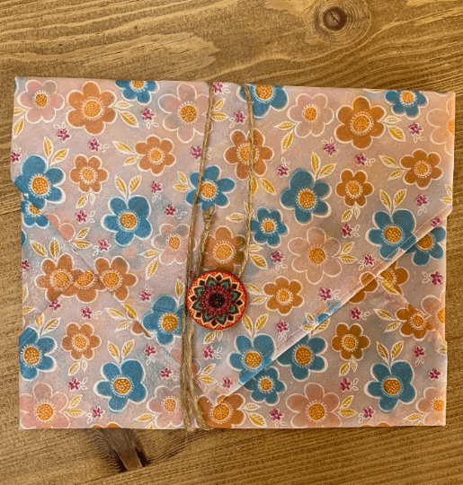 Beeswax Sandwich Wrap with Button & String Fastening (Blue Orange Flowers) Kind Shop