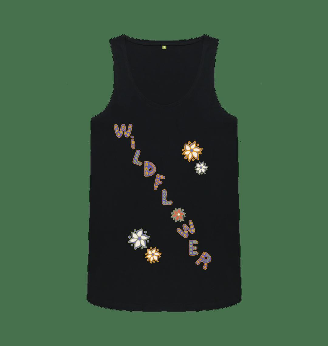 Nature Lovers Wildflower Women's Eco Vest T Shirt - Organic Cotton, Vegan black