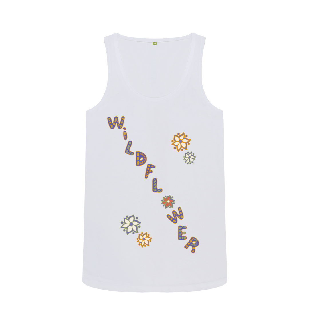 Nature Lovers Wildflower Women's Eco Vest T Shirt - Organic Cotton, Vegan white