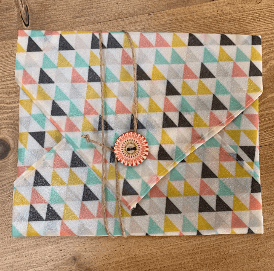 Beeswax Sandwich Wrap with Button & String Fastening (Multi Coloured Triangles) Kind Shop