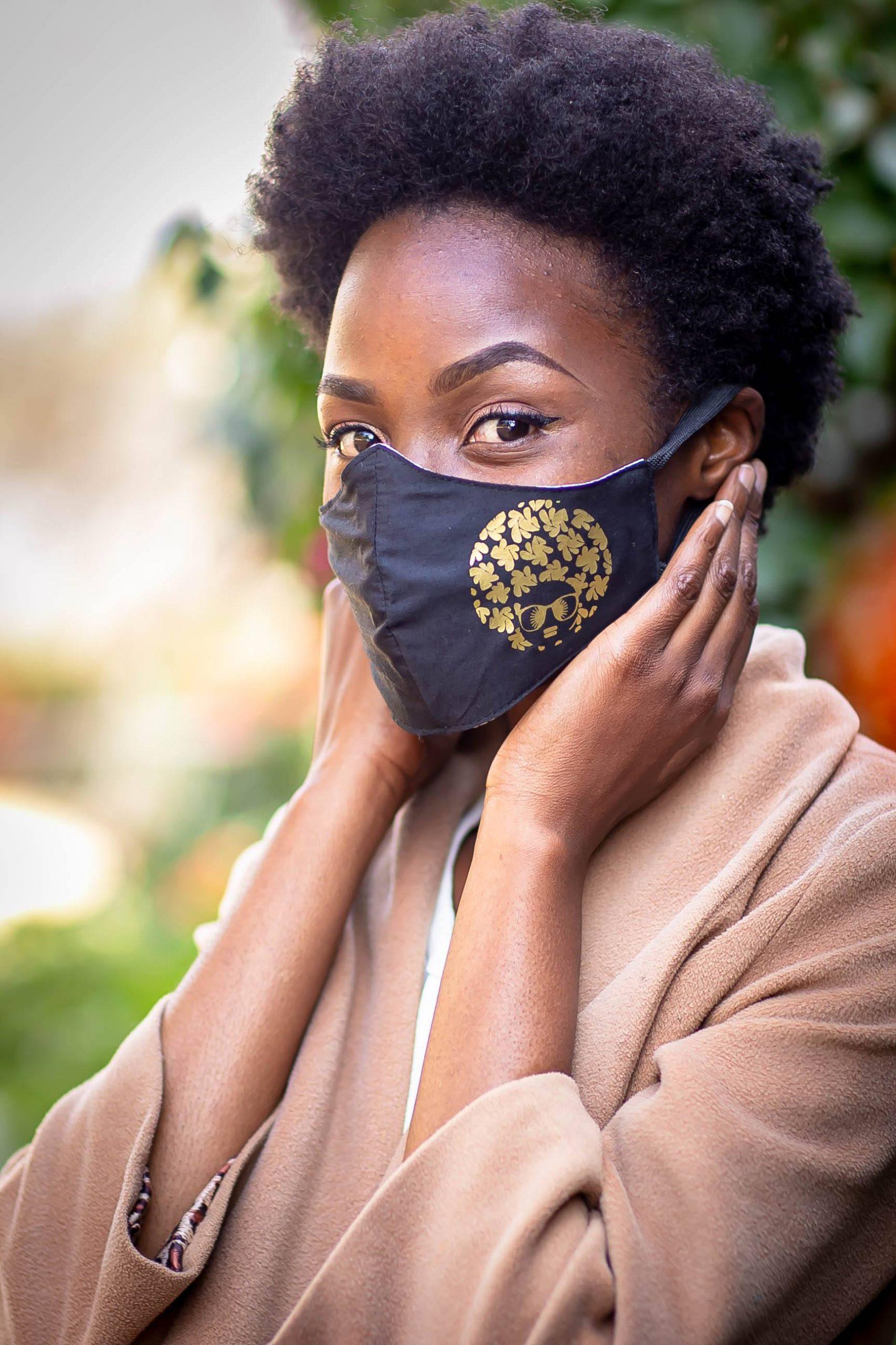 Gold Heat printed Afro Diva Mask Kind Shop