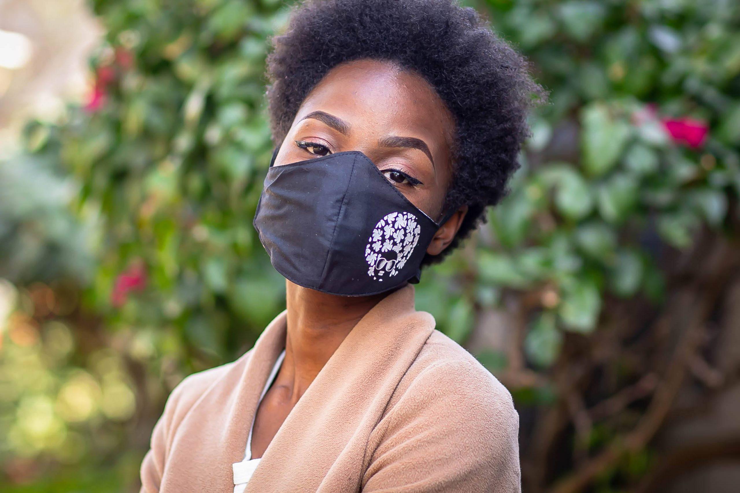 White Heat printed Afro Diva Mask Kind Shop