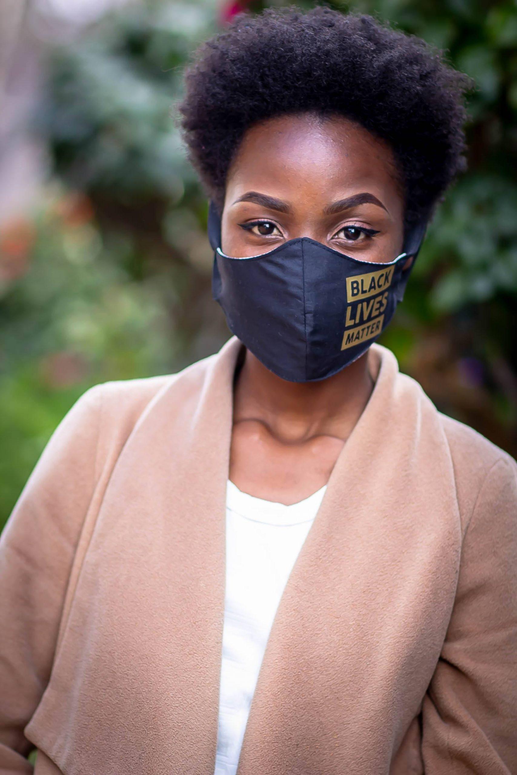 Gold Heat Printed Black Lives Matter Mask Kind Shop