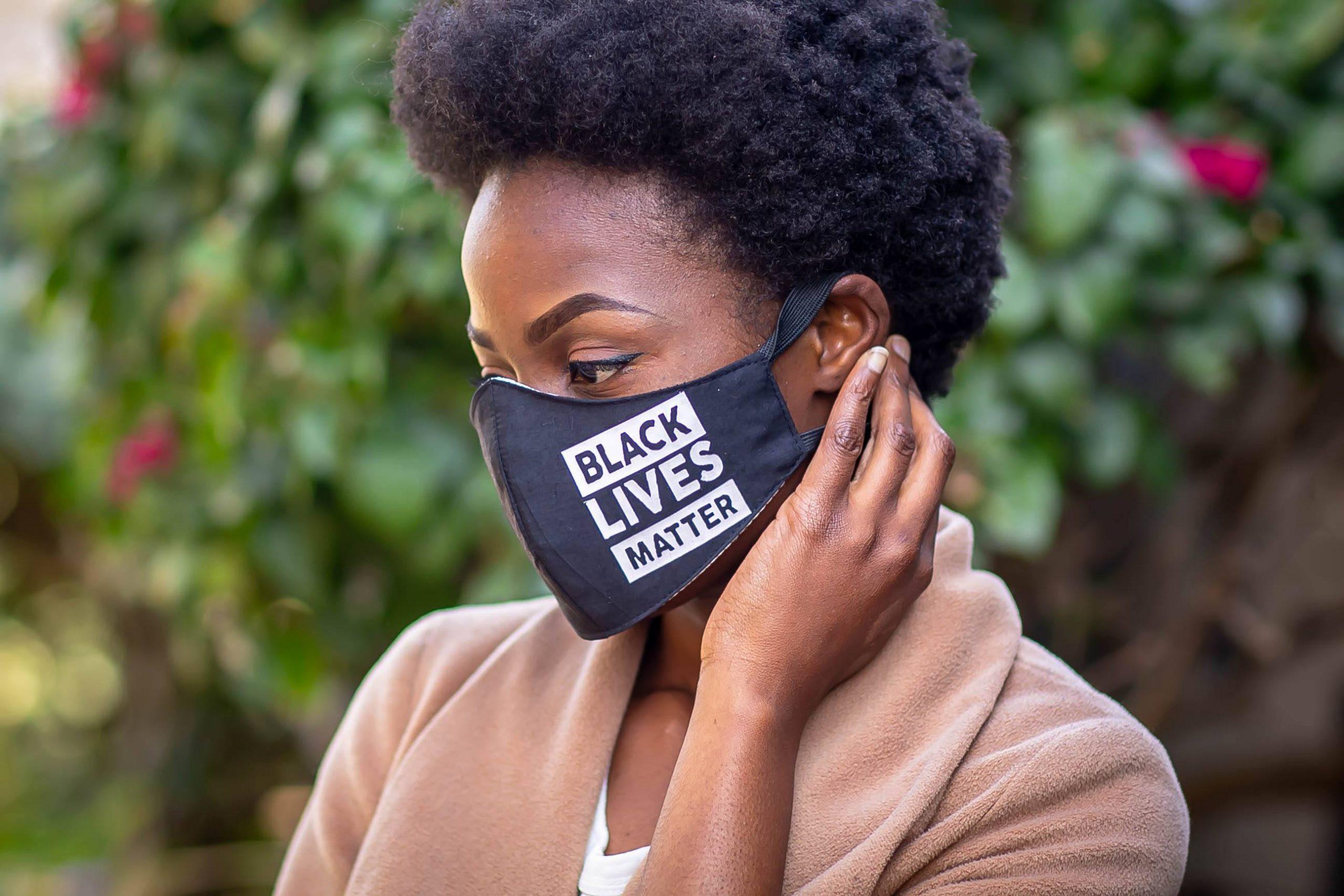 White Heat Printed Black Lives Matter Mask Kind Shop