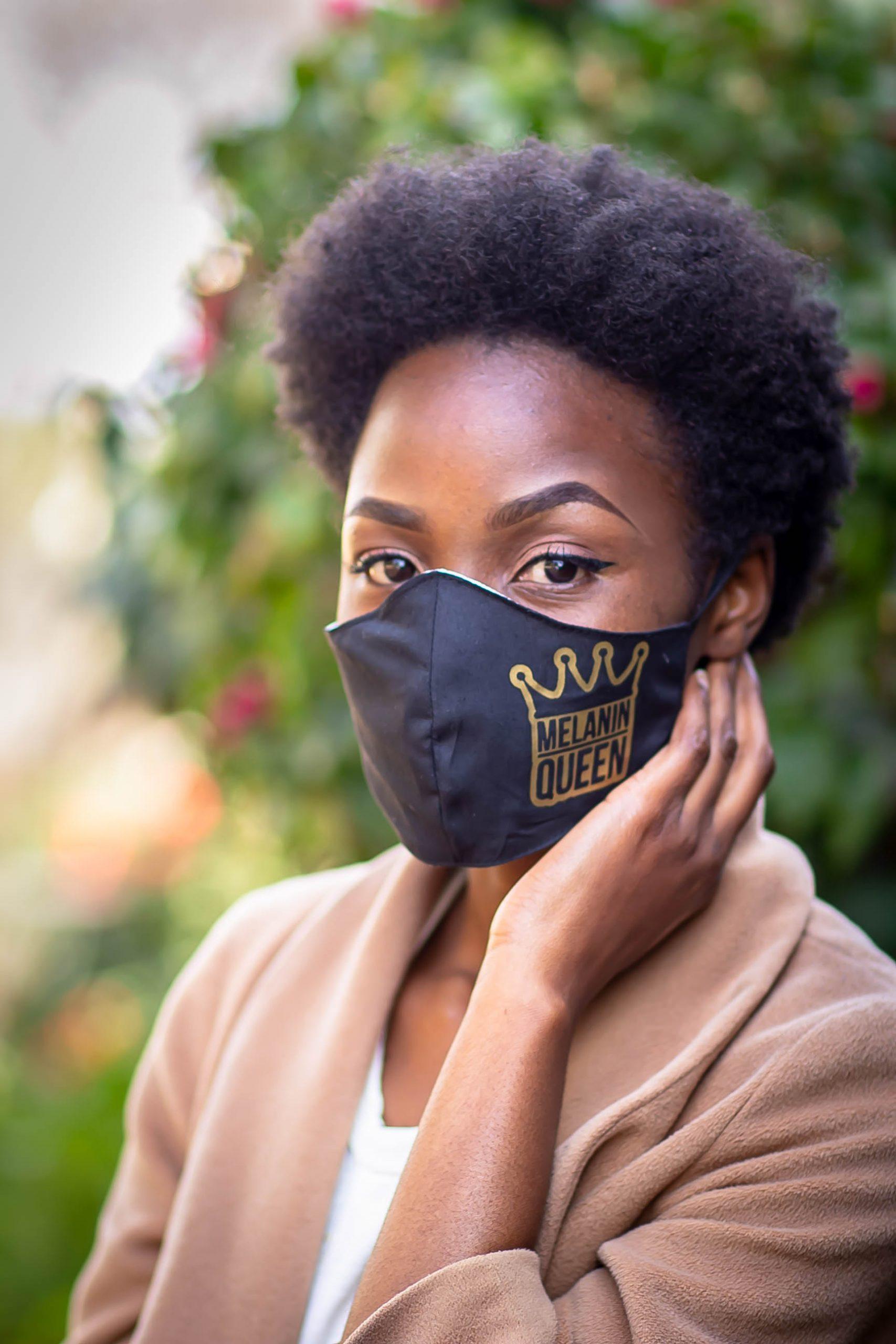 Gold Heat printed Melanin Queen Mask Kind Shop
