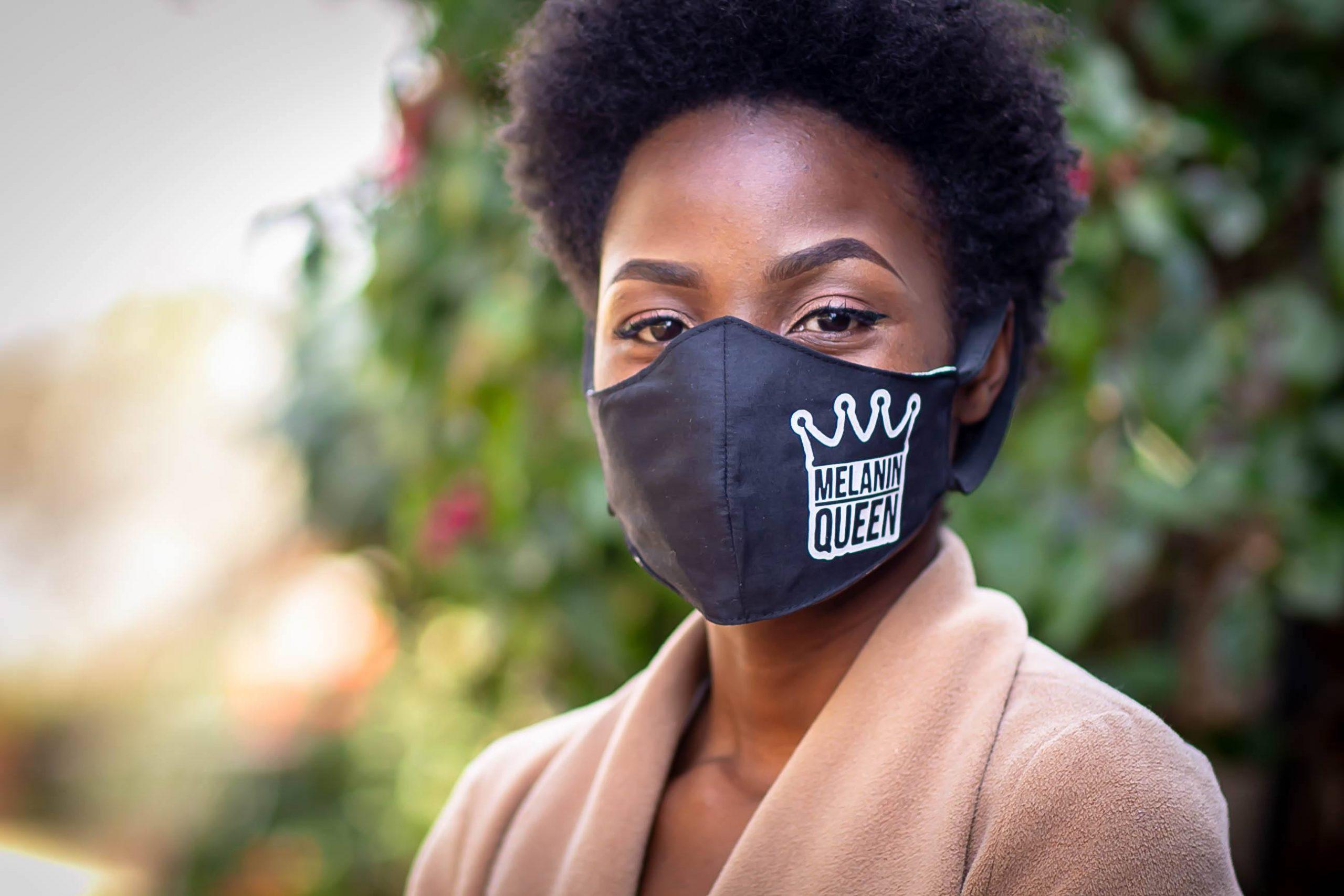 White Heat Printed Melanin Queen Mask Kind Shop