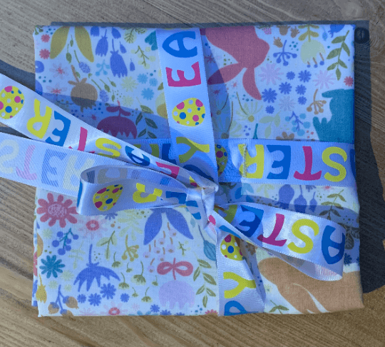 Easter Reusable Fabric Gift Wrap (Bunnies Rabbits & Flowers)