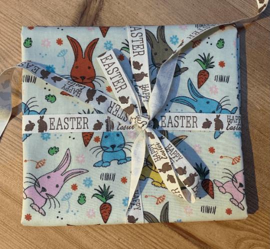 Easter Reusable Fabric Gift Wrap (Bunny Rabbits & Carrots)