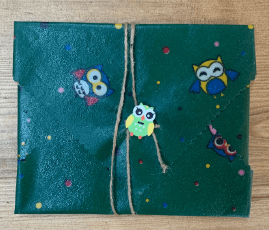 Kids Beeswax Sandwich Wrap with Button & String Fastening Set (Green Owls) Kind Shop