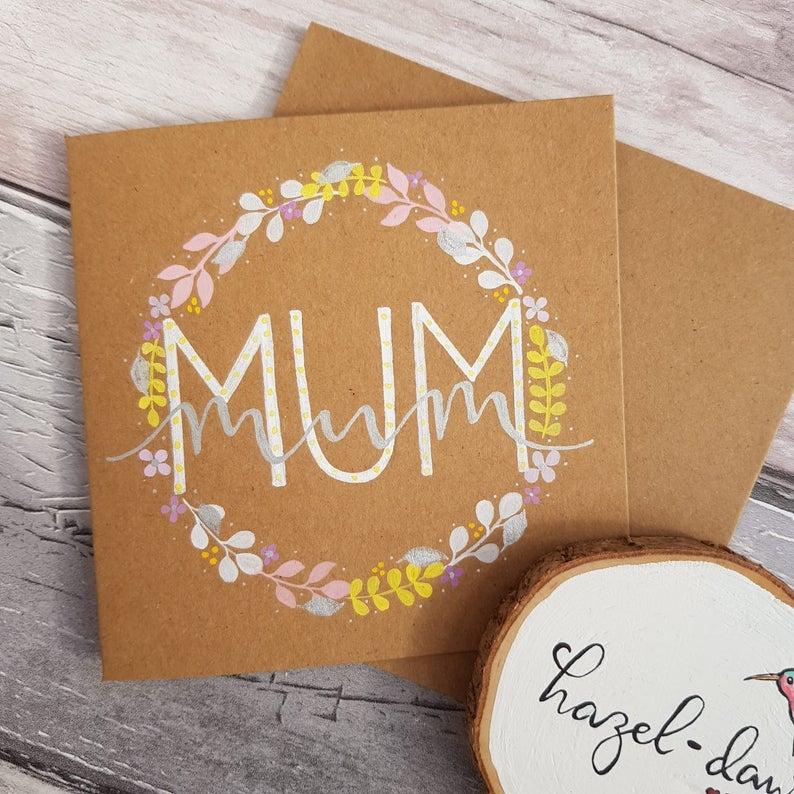 Mum Mother's Day Card Flower Wreath Eco Kraft Card