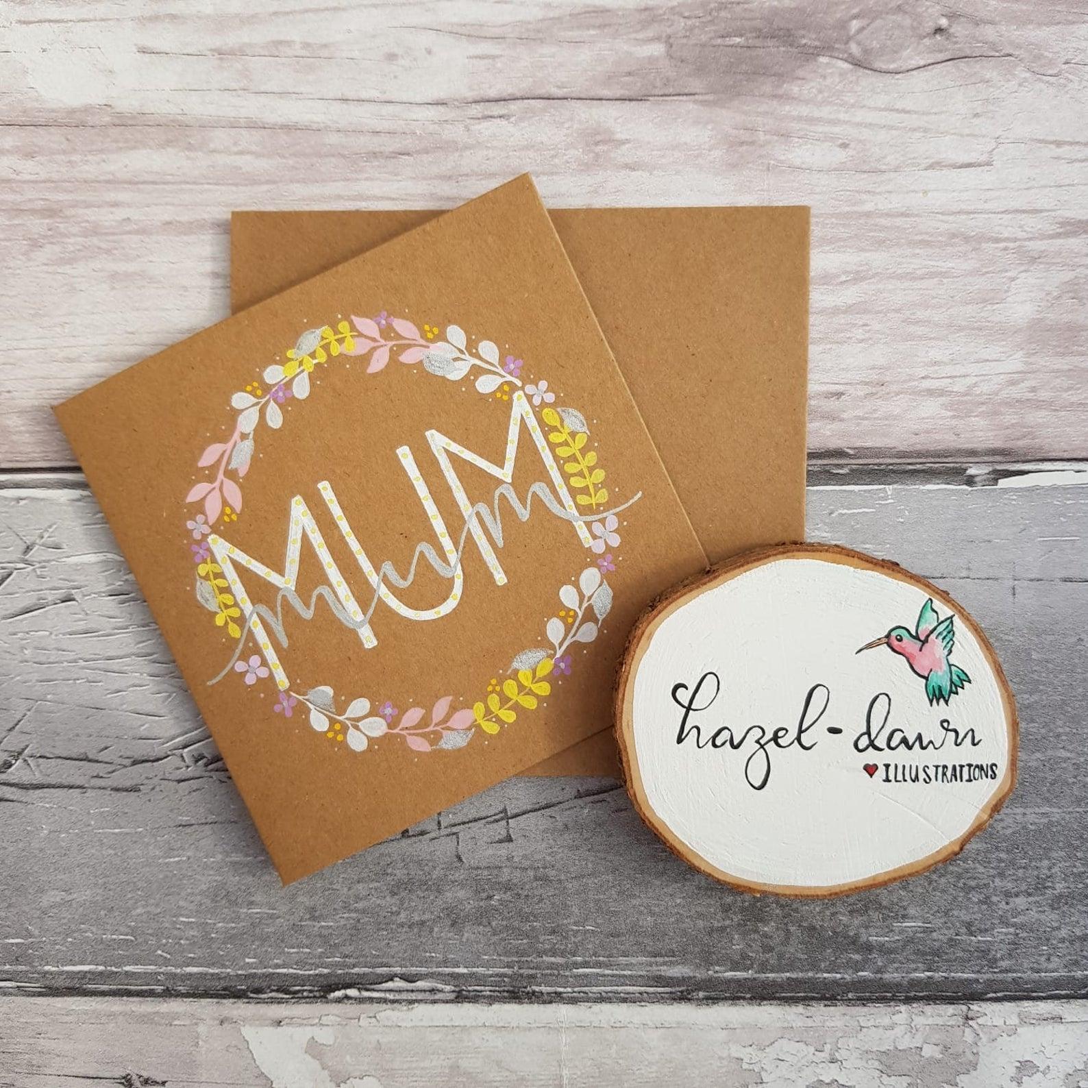 Mum Mother's Day Card Flower Wreath Eco Kraft