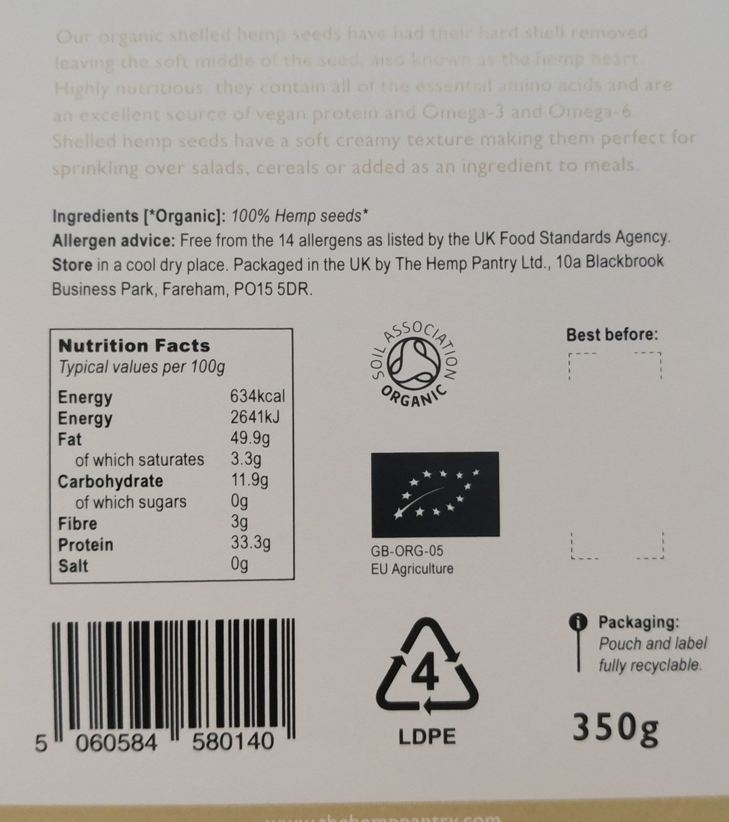 ORGANIC SHELLED HEMP SEEDS (350g) Kind Shop 2