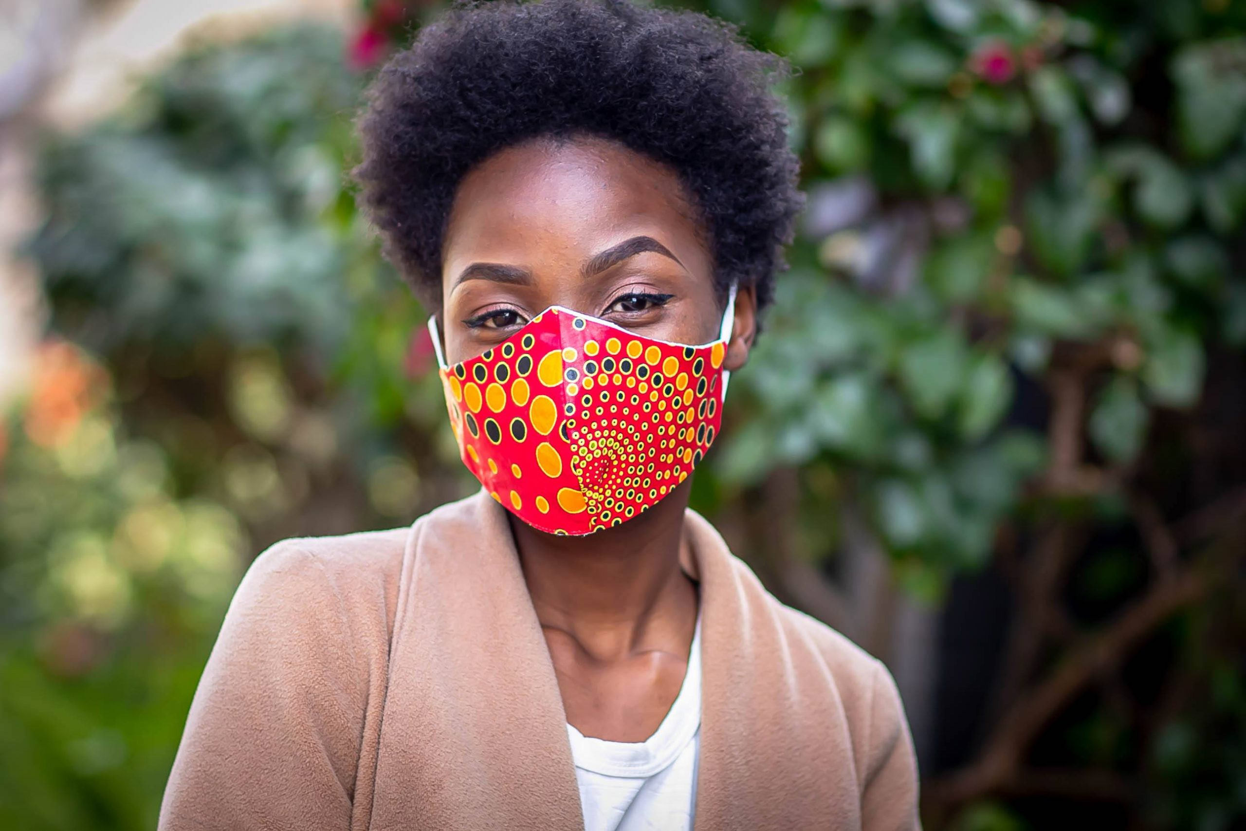 Printed Pepper Red, Yellow circular Mask Kind Shop