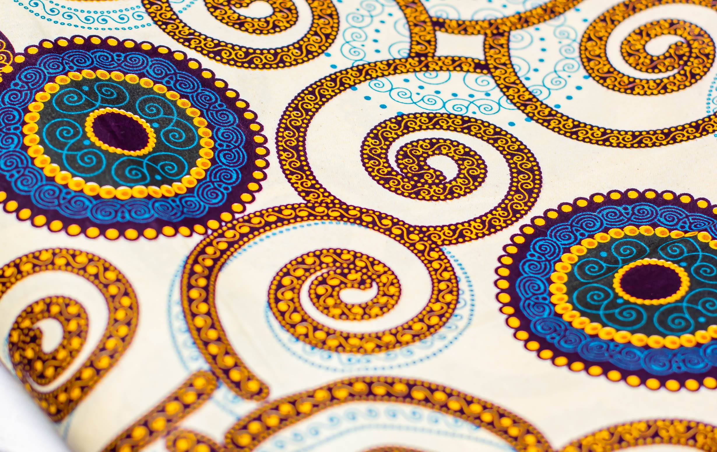 Printed Spiral – Natural, Brown, Navy Turquoise Mask Kind Shop 4