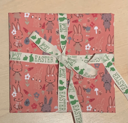 Easter Reusable Fabric Gift Wrap (Pink Bunnies) Kind Shop
