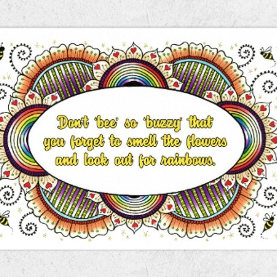 Positive Artwork Poster Print With Inspirational Positive Quote – Don't Be So Buzzy Kind Shop 2