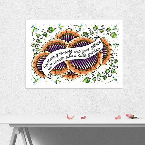 Positive Artwork Poster Print With Inspirational Positive Quote – Nurture Yourself Kind Shop