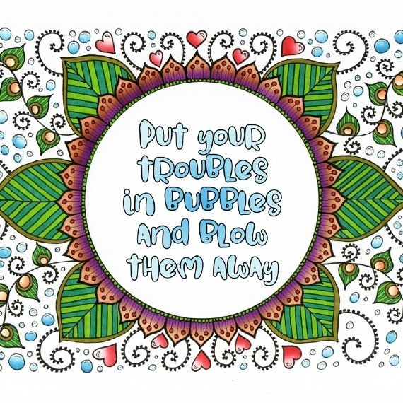 Positive Artwork Poster Print With Inspirational Positive Quote – Troubles In Bubbles Kind Shop 2
