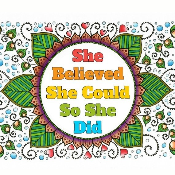 Positive Artwork Poster Print With Motivational Positive Quote – She Believed She Could Kind Shop 2