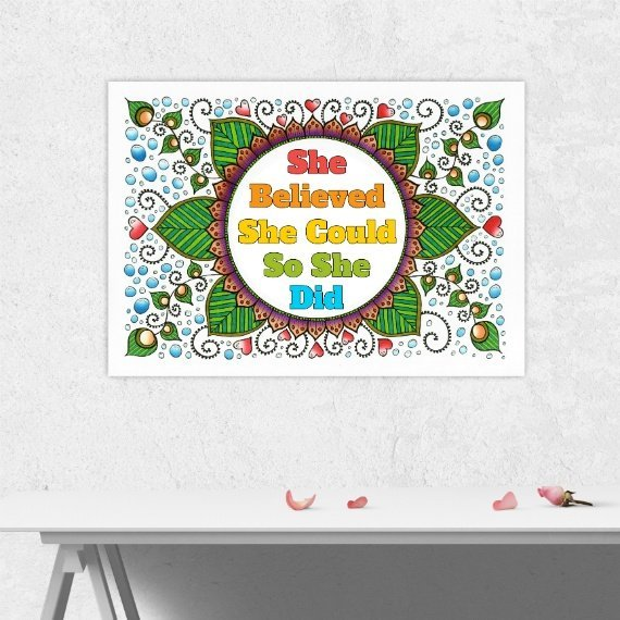 Positive Artwork Poster Print With Motivational Positive Quote – She Believed She Could Kind Shop