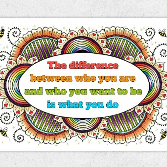 Positive Artwork Poster Print With Motivational Positive Quote – The Difference Between Who You Are Kind Shop 2