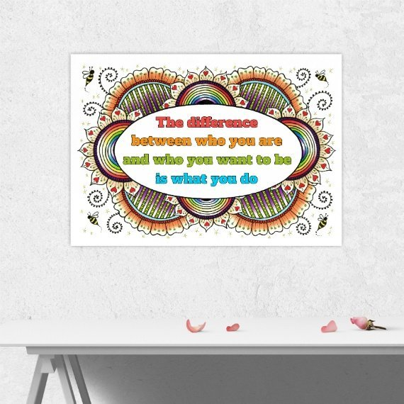 Positive Artwork Poster Print With Motivational Positive Quote – The Difference Between Who You Are Kind Shop