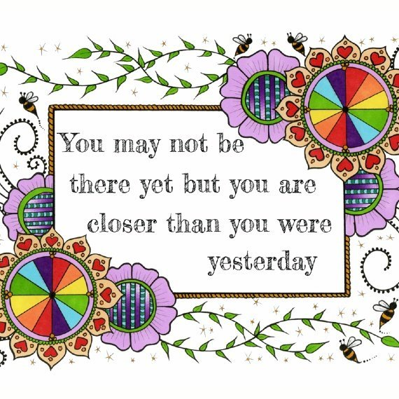 Positive Artwork Poster Print With Motivational Positive Quote – You May Not Be There Yet Kind Shop 2