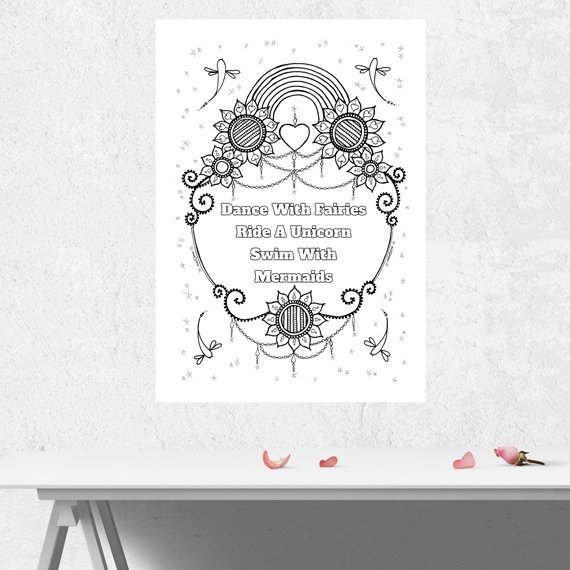 Positive Mindful Colouring Sheet Artwork Poster Print With Inspirational Quote – Dance With Fairies Kind Shop