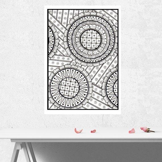 Positive Mindful Colouring Sheet Artwork Poster Print – Doodle Fest Kind Shop