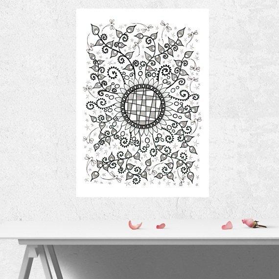 Positive Mindful Colouring Sheet Artwork Poster Print – Flower Crazy Kind Shop