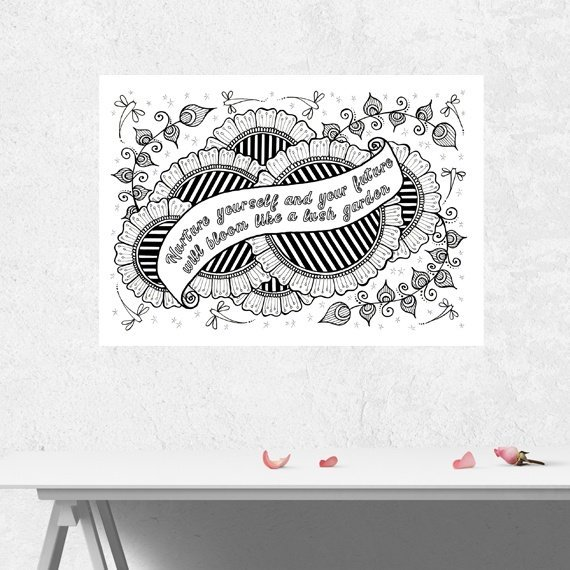 Positive Mindful Colouring Sheet Artwork Poster Print With Inspirational Quote – Nurture Yourself Kind Shop